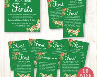 Year of Firsts Wine Labels Bridal Shower Wedding Printable Green Flowers