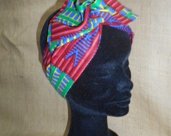 African turban, headband for girls and women, fabric red green kente African