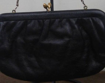 Vintage Black Leather Evening bag/clutch