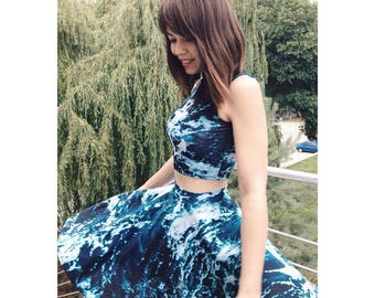 Ocean sea waves summer storm top with skirt turquoise