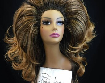 BUXOM - Large Styled Wig for Drag Queens, Theater, Burlesque in Dark Brown Roots with Ginger Brown Tips