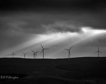 wind turbines at dusk. Todmorden (photograph)