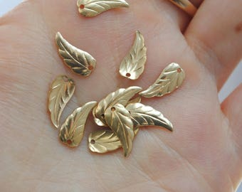 Set of 2 charms 12 x 6mm gold plated 14 k gold filled leaf charms