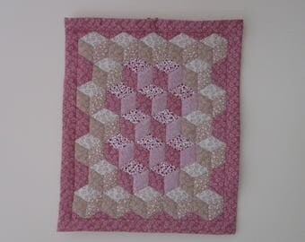 Hand Made Patchwork Tumbling Block Wall hanging