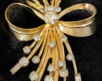 "Gold Tone Rhinestone Pin - Sarah Coventry Signed ""Vogue""  circa 1960"