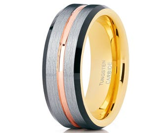 Rose Gold Tungsten Wedding Band Yellow Gold Tungsten Ring Men & Women Tungsten Carbide Ring Black Wedding Band Brush