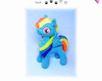 My Little Pony Rainbow Dash crochet pattern with many photos