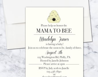 Mama to Bee Baby Shower Invitation, 5x7, Gender Neutral, Digital Download