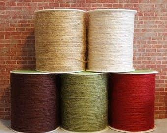 20 Yards Burlap String, 1mm Hemp Cord, Choose Color-Natural-Ivory-Brown-Sage-Red