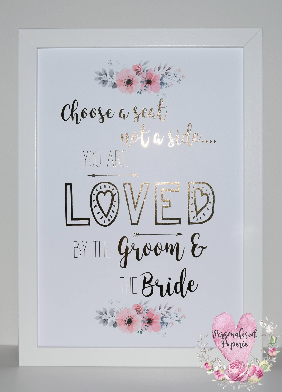Choose A Seat Wedding Print, Foil Pink Floral Print, Rose Gold ...