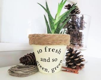 So fresh and so green green. Plant Pun. Rap Pun Planter. Funny Plant pun potter. Succulent Planter. Indoor Planter. Cactus Pot. Plant Pun.