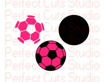 Soccer Ball SVG and Studio 3 Cut File Cutouts Cut Files Logo Stencil for Silhouette Cricut Brother SVGs Cutouts Stencils Decals Sports Team