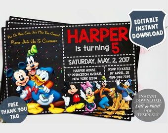 Mickey Mouse Invitation, Mickey Mouse Invites, Mickey Mouse Birthday Invitation, Mickey Thank You Tags, Editable PDF, Instant Download