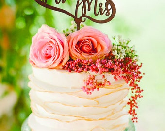 Mr and Mrs Wedding Cake Topper Hearts cake topper Gold Monogram Wedding Cake Topper Mr and Mrs Cake Topper wooden cake topper custom cake