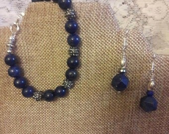10mm Lapis Lazuli bracelet and matching earrings