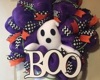 Halloween, Fall Wreath, Ghost Wreath,Halloween decor, Front Door Wreath, Halloween Ghost Wreath, Mesh Wreath, Home Decor, Housewarming Gifts