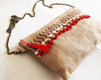 Bag shoulder bag with chain, hippie Bohemian chic burlap