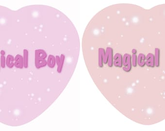 Magical Girl and Boy Heart Shaped Buttons 2x2.5 Inches