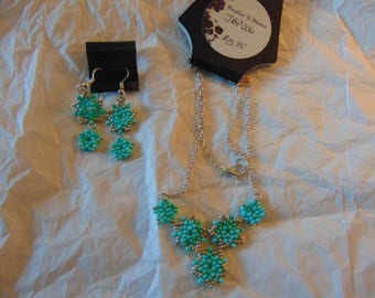 Star Beaded Necklace and Earrings