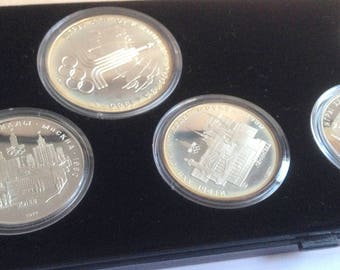 Set of 6 silver coins. Russia. 2 x 10 rubles, 4 x 5 ruble 1977. Olympic Games Moscow 1980. Soviet Union.