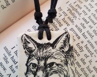 Up-cycled dog illustration ceramic necklace
