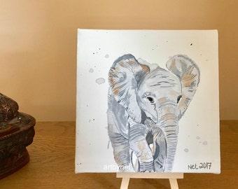 ELEPHANT painting, elephant art, watercolour elephant, perfect gift, elephant lovers gift, 15cm x 15cm painting, original painting