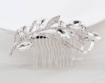 LISALI Bridal Clip,  Bridal Comb Crystal, Wedding Crystal Hair Comb, Hair Comb, Wedding Accessory, Crystal Leaves Headpiece