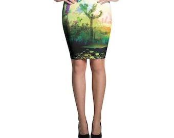 Cactus Printed Pattern Bright, Bold, Classic Pencil Skirt, Desert Space Skirt, Form Fitting High Waisted Skirt, Knee Length Skirt, Stretchy