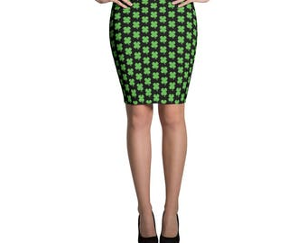St Patricks Day Skirt Shamrock Shirt Saint Patrick Skirt Green Shamrock Pattern Outfit Four Leaf Clover Skirt Ireland Women's Pencil Skirt