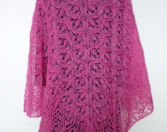 Large, soft and gauzy shawl, mohair rose, handmade