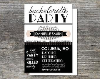 Art Deco, Gatsby Theme, Bachelorette Party Invitation