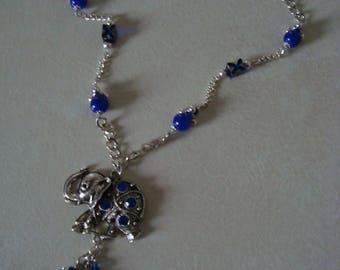 Elephant with blue rhinestone silver necklace