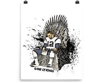 Art Print, Tom Brady GOAT King of the North, game of rings artwork