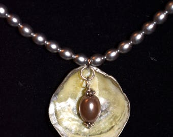 Jingle Shell Necklace Morgen with pearls, Ocean, Mermaid, jewelry