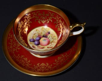 Stunning AYNSLEY, Footed Teacup & Saucer,Fruit Orchard Pattern, Burgundy Gilded Borders, gold band, red, athens, hand painted, England