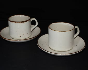 J & G Meakin, England, Lifestyle, 4 Piece Tea Set, 2 teacup and saucer sets,off-white speckled in brown,vintage, pottery, c.1970s, farmhouse
