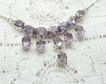 Vintage Amethyst Sterling Silver Dangle Necklace/Handmade/Free Shipping US/February Birthstone/Christmas/Birthday/Anniversary/Valentine