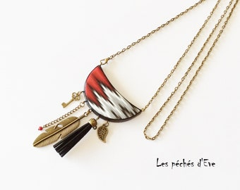 Red and grey tones Moon pendant