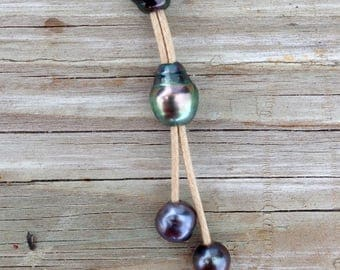 MM103 Tahitian Black Pearl Necklace