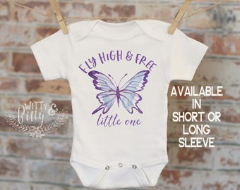 Fly High And Free Little One Butterfly Onesie®, Butterfly Onesie, Cute Baby Bodysuit, Cute Onesie, Boho Baby Onesie, Girl Onesie - 182F