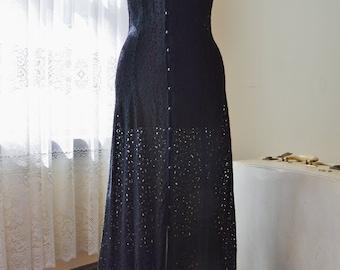 Vintage 90s black lace crochet maxi dress