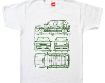 FIAT UNO tshirt future classic car vintage italy italian white green