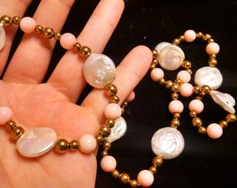 Freshwater pearl and coral bracelet