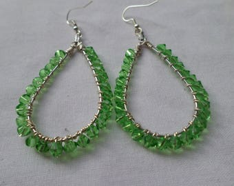 Wire Wrapped Green Crystal Drop Earrings