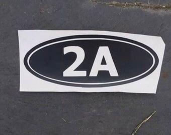 "2A Oval Vinyl Decal Sticker 5""x2"", decal for car, laptop, tumbler, water bottle, vinyl decal, window decal, 2a sticker, 2nd amendment decal"