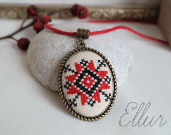 Ukrainian embroidered pendant Red black cross stitch pendant Hand embroidery necklace Ethnic folk Red wife jewelry Mom daughter jewelry set
