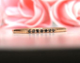 Black Diamond Ring 14k Solid Gold, Diamond Eternity Ring, Dainty Black Diamond, Thin Band Diamond Ring, Anniversary Ring, Stackable Ring