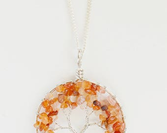 Red Agate tree of life pendant necklace