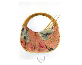 Vintage Basket Handbag with Floral Print Fabric | Large Retro Linen Wicker Ratan Handle and Frame Handbag