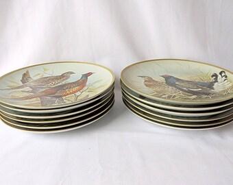 Vintage Set of 12 Franklin Porcelain Plates, ''Gamebirds of the World'' by Basil Ede, Signed by Basil Ede